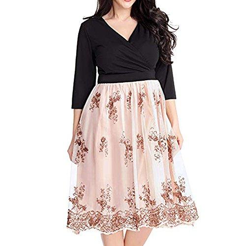 Mesh Surplice Dress - ZAFUL Women's Plus Size 3/4 Sleeve Surplice Sequin Mesh A Line Skater Dress