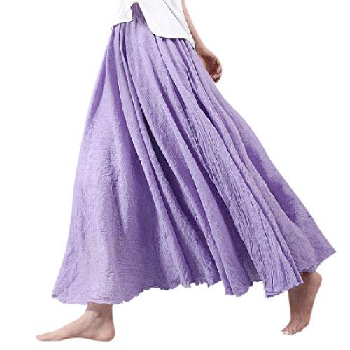 longue Nlife lastique Taille paisseur coton maxi Jupe Jupe Purple femme en pour et lin double H4OqrH