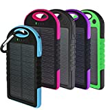 Solar Charger, Powercam, 10,000 mAh, Waterproof, Drop Resistant, Shockproof, for iPhones, iPads, Android, Samsung phones, GPS devices and Cameras (Blue)