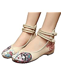 ZYZF Women Peking Opera Chinese Casual Embroidered Dancewear Oxfords Rubber Sole Mary Jane Dance Flat Shoes