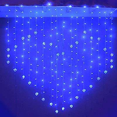 Yeahplus 124 LED 1.5m x 1.2m 8 Modes Heart Shape LED Windows Curtain Light,Waterproof String Fairy Light for Bedroom Party Christmas Wedding Curtain Festival
