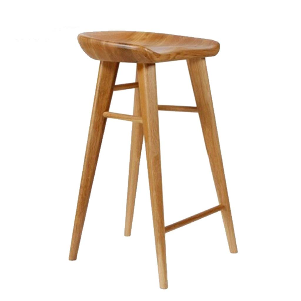 A 55CM ZRXian-Barstools Simple Solid Wood Bar Stool Footrest Breakfast Pub Kitchen Dining Chair Counter Ergonomic Safety Seat Max Load 130kg (color   Brown, Size   55CM)