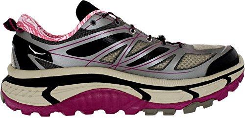 Hoka One One Women Mafate Speed Running Sneaker Shoe, Grey/Black/Fushia, US 6