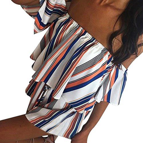 Fheaven Women's Off Shoulder Stripe Prints Beach Casual Jumpsuit Clubwear Bodycon Playsuit Romper (L, White)