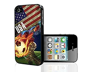 Red, White, and Blue USA Team Flag with Colorful Fiery Soccer Ball Hard Snap on Phone Case (iPhone 5/5s)