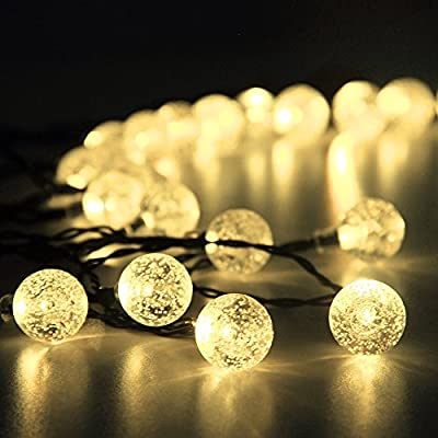 Innoo Tech Solar Outdoor String Lights 19.7 ft 30 LED Warm White Crystal Ball Christmas Globe Lights for Garden Path, Party, Bedroom Decoration
