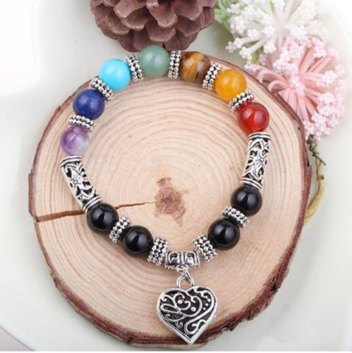 8MM Natural 7 charka gemstone stones round beads Tibet silver bracelet ()