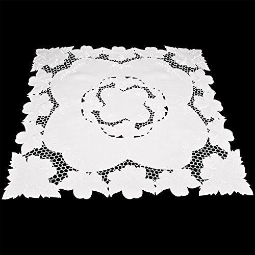 Embroidered Table Topper, Dresser Scarf, Small Table Cloth Wedding Decor White Lily Rose White Fabric 33