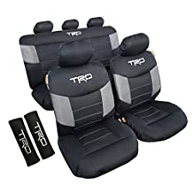 Airflow Mesh Carbon Wolf Grey / All Black TRD Car Seat Cover & 2 Shoulder Pads For Toyota (All Black)