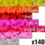 140 pcs Soft Cat Claw Caps for Cats Nail Claws 7X Colors + 7X Adhesive Glue + 7X Applicator - Pet Tips Cover Paws Soft Covers (M - Yellow - Orange - Red - Rose - Bright Pink - Light Pink - White)
