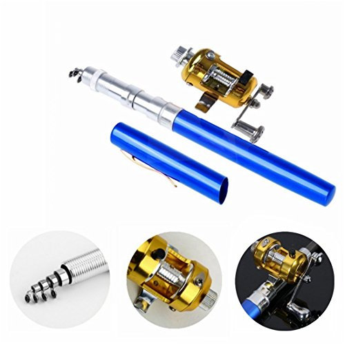 Ouguan Pocket Size Pen Shaped Collapsible Fishing Rod Pole and Spinning Reel Combo (Blue)
