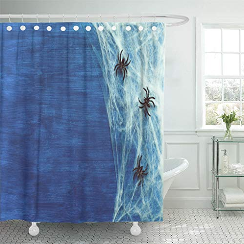 Semtomn Shower Curtain Orange Autumn Halloween Spider and As Symbols of Dark Shower Curtains Sets with 12 Hooks 72 x 78 Inches Waterproof Polyester Fabric