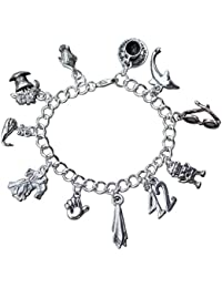 Hitchhiker's Guide to the Galaxy Charm Bracelet- Pewter Charms, Silver Plated Chain- Sizes XS to XL