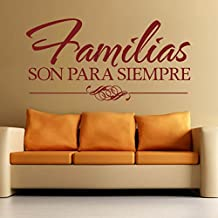 Espanol wall decal Spanish Vinyl-¡Familias Son Para Siempre¡¯-Families Are Forever Nursery Decor Home Living Room Decor Bedroom Art £¨Large,Black)