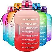 QuiFit Motivational Gallon Water Bottle - with Time Marker & Infuser & Flip Top 128/73 oz Leak-Proof R