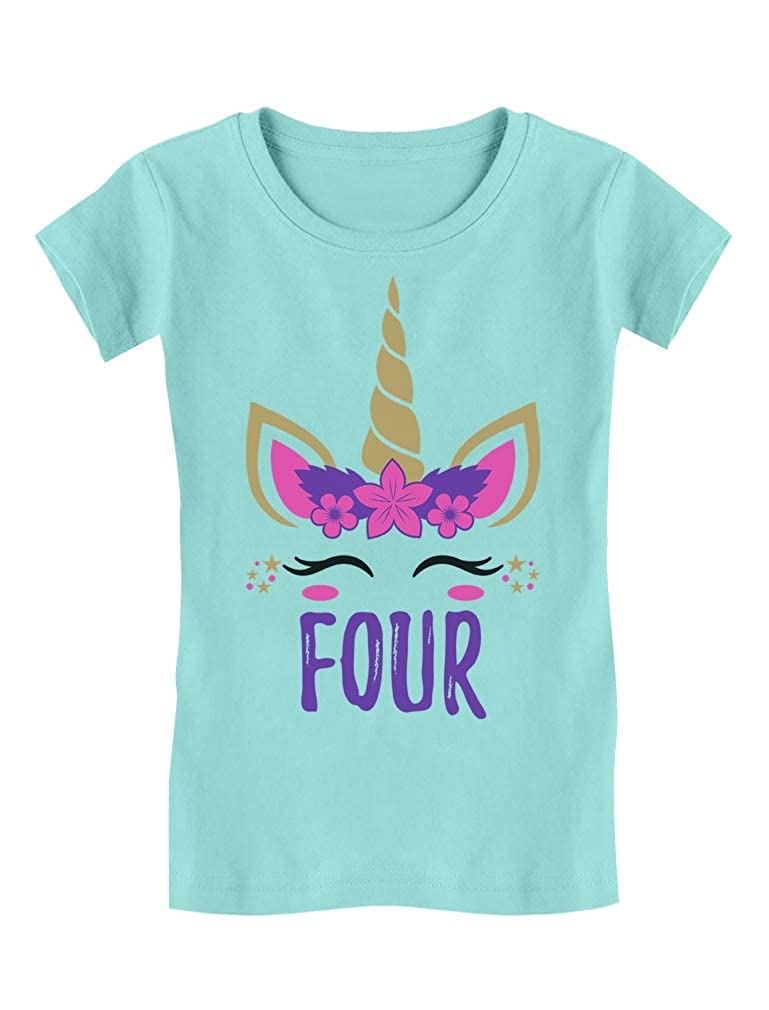 Gift for 4 Year Old Girl Unicorn 4th Birthday Infant Girls Fitted T-Shirt
