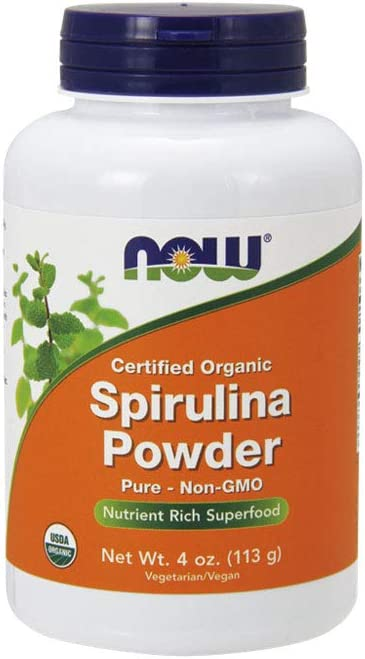 NOW Supplements, Organic Spirulina Powder with Beta-Carotene (Vitamin A) and B-12, 4-Ounce