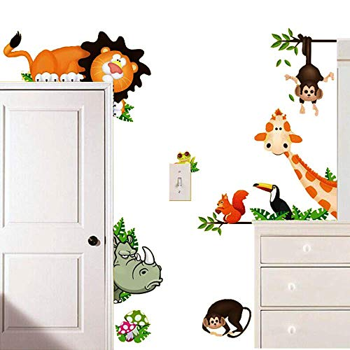 ElecMotive Jungle Wild Animal Vinyl Wall Sticker Decals for Kids Baby Bedroom Lion Theme
