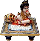 EtsiBitsi Marvellous Marble Laddu Gopal Idol on Chowki (Meenakari and Kundan Work) in Blue Color puja articles Rajasthani Handicrafts Art Antique Decorative Unique all occasion Gift product_MPC002
