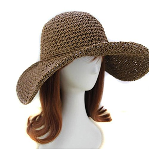 Tinksky Summer Sun Hat Beach Straw Cap Folding Women's Wide Floppy Brim Hat,Brown Coffee, head size 56cm-58cm