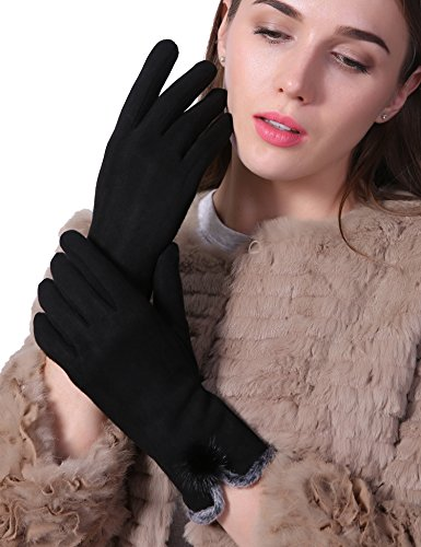 Fleece Windproof Gloves (Women Winter Gloves Touch Screen Thick Warm Windproof Adult Hand Outdoor Mittens Gloves black (Fleece Lining) (BLACK))