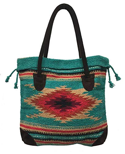 Handbags Wholesale Womens (Monterrey Ladies Tote Purse Handwoven Southwestern Aztec Print Suede Handles G)