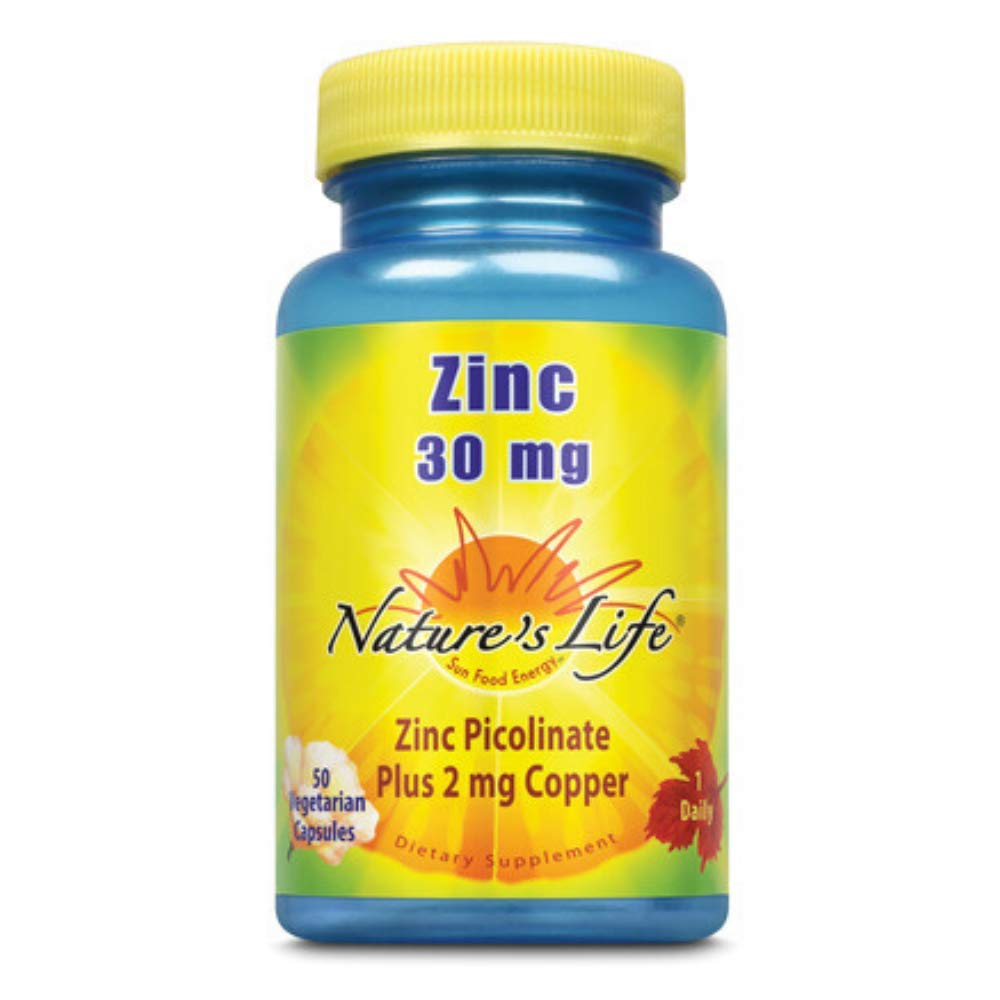 Nature's Life Zinc Picolinate Capsules, 30 Mg, Plus 2mg Copper | 50 Count