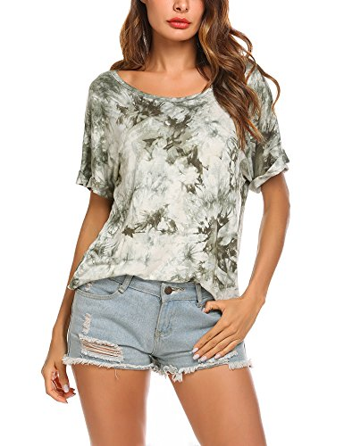Wildtrest Women's Tops Short Round Neck Tie Dyed T-Shirts Casual Blouse Green M