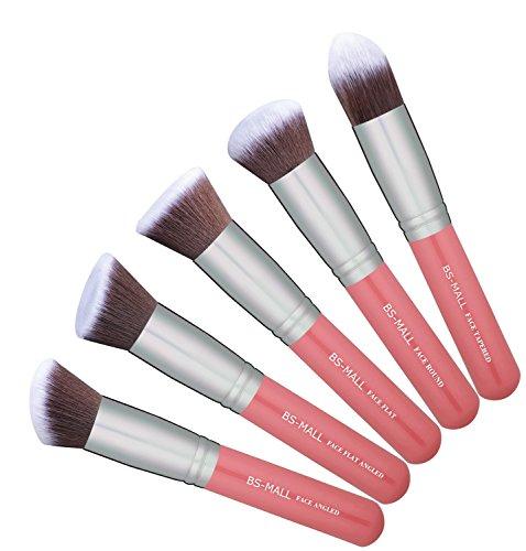 BS-MALL(TM) Premium Synthetic Kabuki Makeup Brush Set Cosmetics Foundation Blending Blush Eyeliner Face Powder Brush Makeup Brush Kit (Pink Silver)