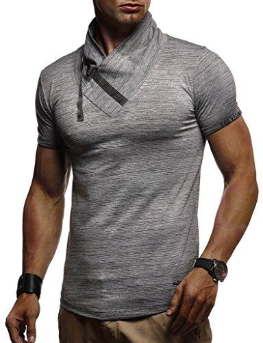 Col À Mao Leif Manches Courtes Longues Shirt Uni Gris Nelson Homme wYFUqF7