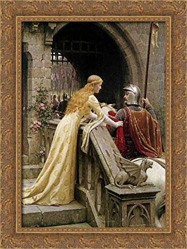God Speed 18x24 Gold Ornate Wood Framed Canvas Art by Leighton, Edmund Blair (God Print Framed)