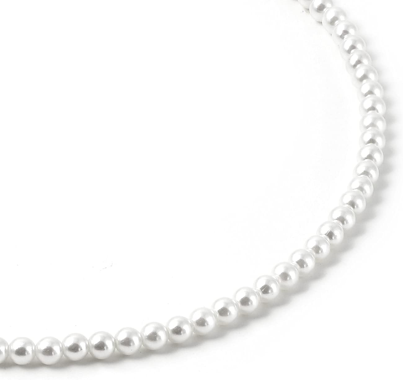 Topwholesalejewel White Pearl Single Row Strand Necklace