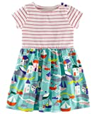 #2: Fiream Girls Summer Casual Dresses Cotton Striped Cartoon Printed Playwear Dresses