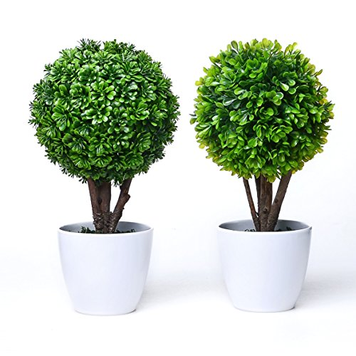 (chic2click 2X Round Artificial Faux Potted Home Desk Tabletop Decor Boxwood Topiary Plant in Pots)