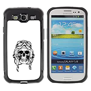 Suave TPU Caso Carcasa de Caucho Funda para Samsung Galaxy S3 I9300 / Pilot Death War White Black Skull / STRONG