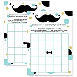 Mustache Baby Shower Bingo Game Card - Mint and Gold - 25 Pack