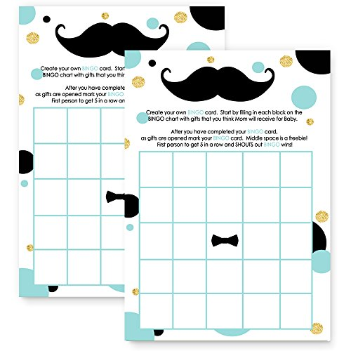 Mustache Baby Shower Bingo Game Card  Mint and Gold  25 Pack