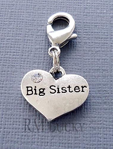 (Pendant Jewelry Making Silver Tone Heart Family Clip On Charm with Lobster Clasp for Link Chain Big Sister )