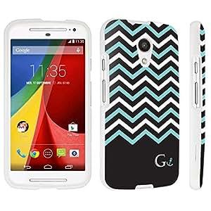 DuroCase ? Motorola Moto G 2nd Gen. 2014 Hard Case White - (Black Mint White Chevron G) by lolosakes