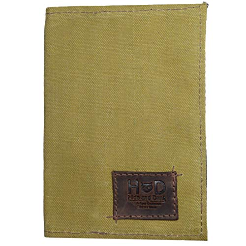 Waxed Canvas Field Notes Cover, Wallet Case, (3.5 x 5.5 in.) Journal Cover W/Pencil, Paper & Cards Slot/Refillable Travelers Pocket Notebook Handmade by Hide & Drink :: Fatigue (Best Field Notes Cover)