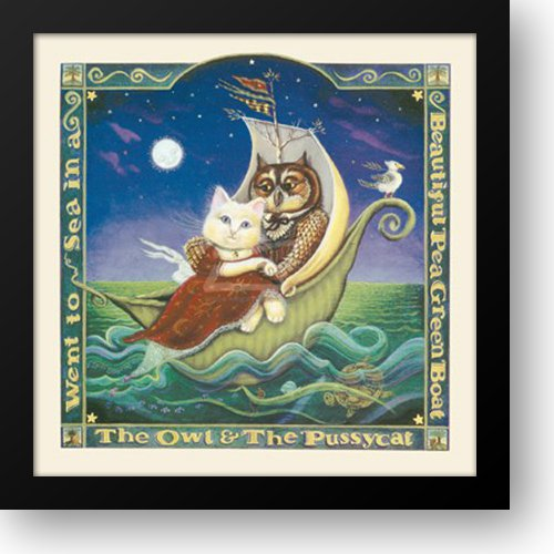 Derstine - The Owl and the Pussycat Framed Art Print by Lacey-Derstine, Donna