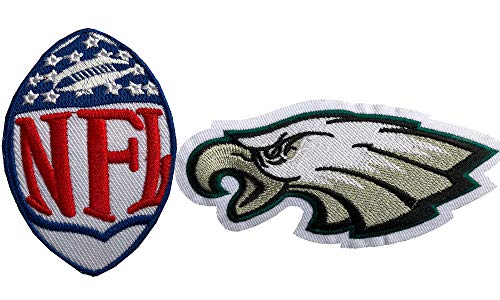 Hipatch Philadelphia Eagles Embroidered Patch Iron on Logo Vest Jacket Cap Hoodie Backpack Patch Iron On/sew on Patch Set of 2Pcs