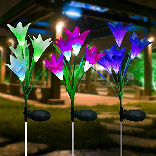 Litake LED Solar Garden Flower Lights Outdoor, 3 Pack Solar Lily Flower Lights, IP65 Waterproof 7 Colors Changing RGB LED Solar Pathway Lights for Garden Patio Backyard