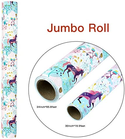 WRAPAHOLIC Reversible Wrapping Paper - 24 inch X 65.6 ft Jumbo Roll Unicorns Design, Perfect for Birthday, Party, Holiday, Baby Shower Packing