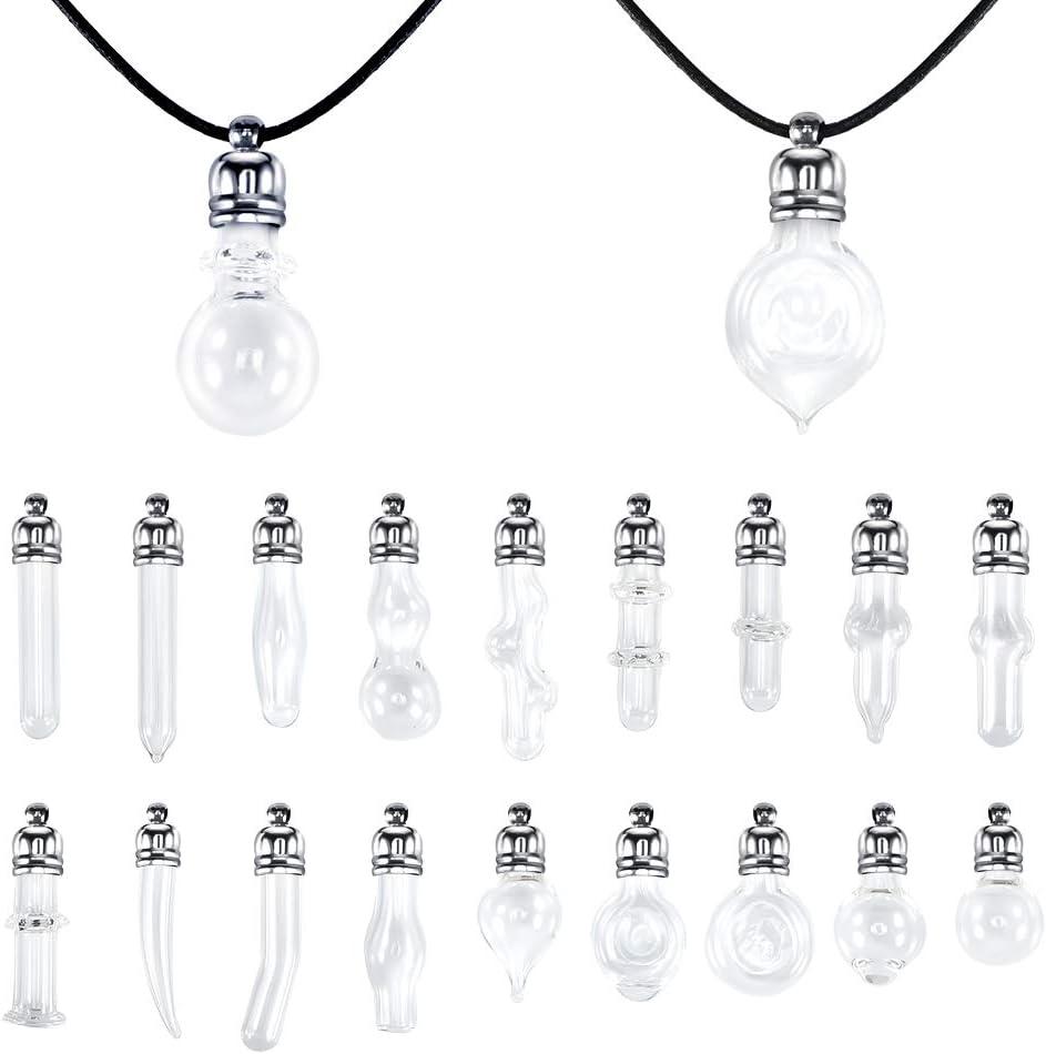 Demine 21 Piezas Juego de Collar con Colgantes de Tarro de Cristal Mini Botellas DIY Colgante Mini Botellas de Deseo Collar de Bricolaje para decoraci/ón o creaci/ón de Joyas