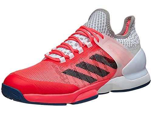 adidas Performance Men's Adizero Ubersonic 2 Tennis Shoe, Flash Red/Tech Steel/White, 10.5 M US