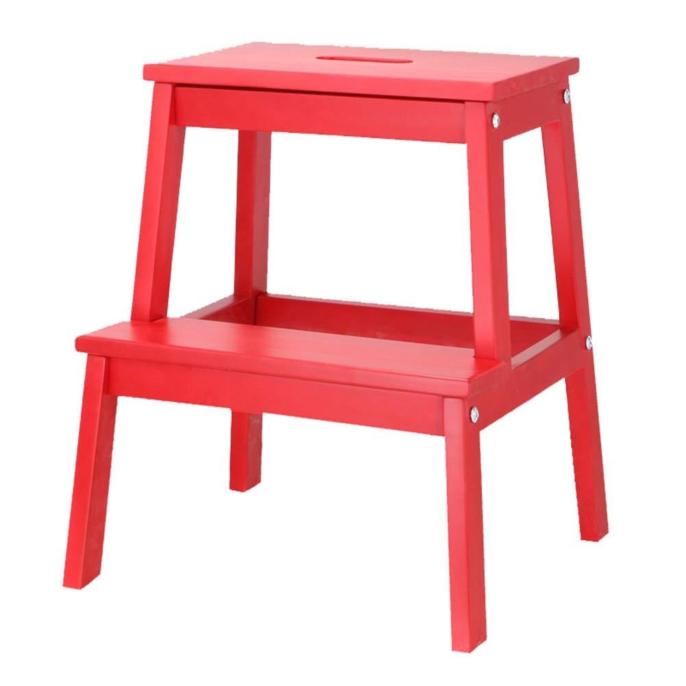 PENGFEI 2段スツール 子 昇る ペダル 手を洗う 純木、 8色 脚立 踏み台ステップ チェア (色 : 赤) B07QS95LRS 赤