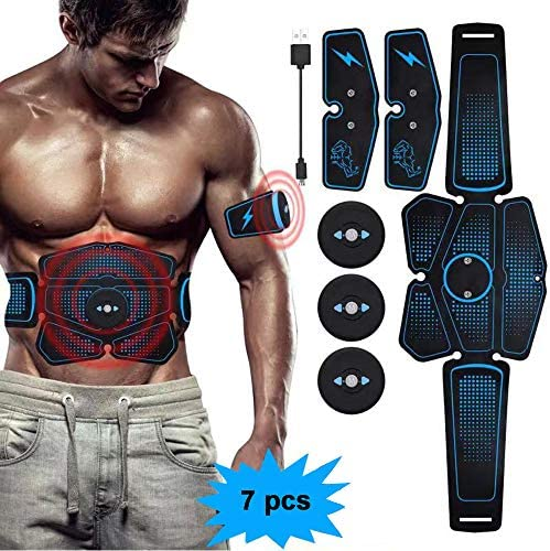 eAnjoy EMS Pads, ABS Stimulator Muscle Toner, Abdominal Toning Belt Muscle Trainer, Portable Fitness Trainer for Abdomen, Arm and Leg, with 6 Modes 8 Levels, USB Charging 6-Pack