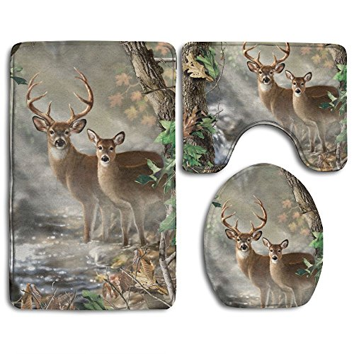Deer Toilet - Camouflage Deer Non-Slip Toilet Rug Set 3 Pcs Bathroom Mat Rug Lid Toilet Cover