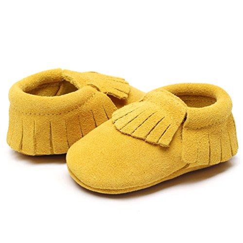 (HONGTEYA Leather Baby Moccasins Hard Soled Tassel Crib Toddler Shoes for Boys and Girls (12-18 Months/5.12inch, Suede Yellow))